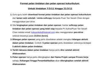 format pelan tindakan dan operasi kokurikulum 2011.doc