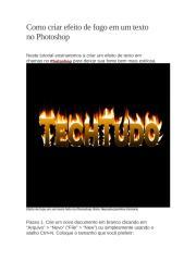 Como criar efeito de fogo em um texto no Photoshop.docx